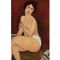 nu assis sur un divan (la belle romaine) by amedeo modigliani
