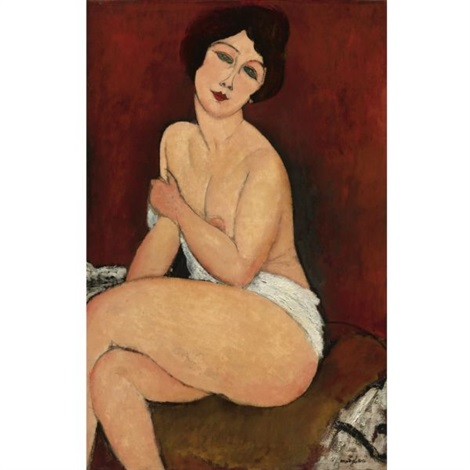 nu assis sur un divan la belle romaine by amedeo modigliani