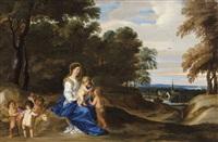 marie et l'enfant avec saint jean-baptiste dans un paysage boisé by frans wouters