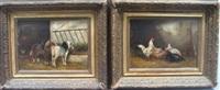 poules dans l'étable et chevaux près de l'abreuvoir (2 works) by fortier
