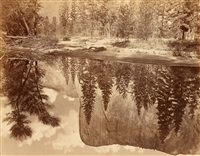 tutokanula, valley of the yosemite, (the great chief , 'el capitan,' reflected in the merced by eadweard muybridge