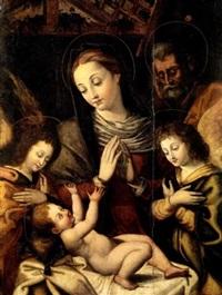 sainte famille entourée d'un ange et de saint jean-baptiste by (simon de mailly) simon de châlon