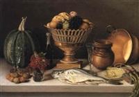 bodegón con pescado y calabaza (cuadro de comedor) by pedro de arrieta