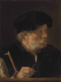 a man, bust-length, holding a cane and his spectacles, by a wooden ledge by karel van der pluym