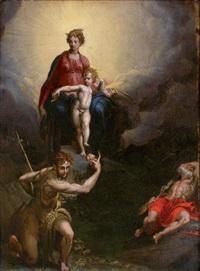 la madone et l'enfant avec saint jean baptiste et saint jérôme by parmigianino