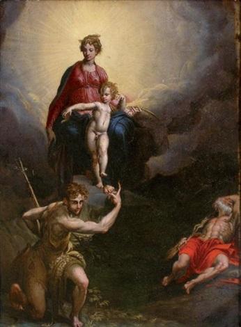 la madone et lenfant avec saint jean baptiste et saint jérôme by parmigianino
