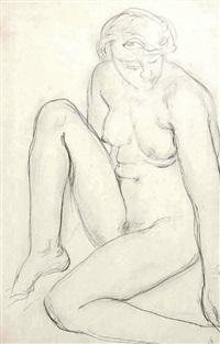 nu féminin assis, la jambe droite repliée vers le haut, la jambe gauche pliée à plat by charles despiau