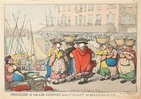 procession of the cod company from st giless to billingsgate 8 others 9 works by thomas rowlandson
