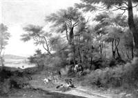brigands détroussant des voyageurs à l'orée d'un bois by angeluccio