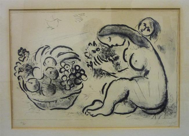 femme à la corbeille de fruit by marc chagall