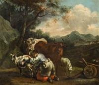 landschaft mit kühen und einer ziegenmelkenden hirtin by pieter van bloemen
