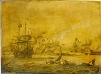 a naval engagement between english and dutch men-of-war by adriaen van salm