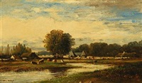 landscape with farm houses and cattle by leon victor dupré