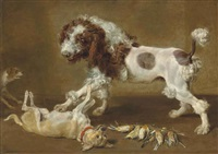 three dogs playing, with songbirds on the floor by paul de vos