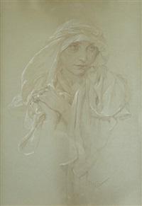 portrét dívky by alphonse mucha