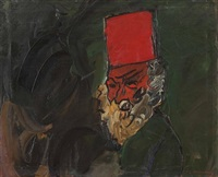 head of old man with red tarboosh by pinchas litvinovsky