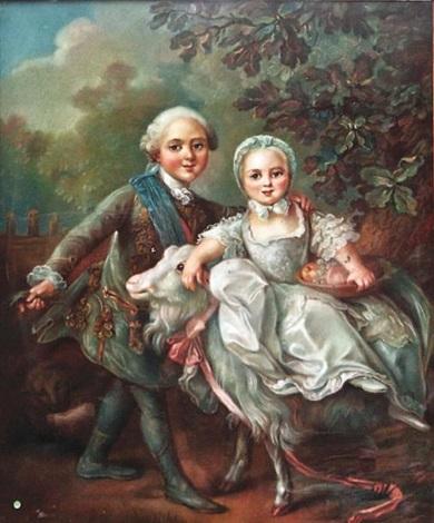 portrait de charles philippe futur charles x et madame clotilde de france by françois hubert drouais