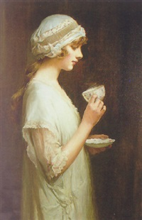portrait of pearl joliffe holfing a cup and saucer by harland fisher