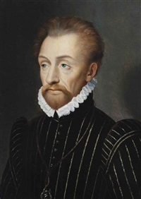 portrait of louis i de bourbon, prince de condé (1530-1569), half-length, in a black embroidered doublet and white ruff by françois clouet