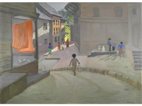 children playing in a street, khatmandu, nepal by andrew macara