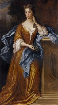 portrait of lady elizabeth germaine, daughter of charles, 2nd earl of berkeley, in a golden dress and blue wrap, holding a sprig of blossom, leaning against a stone plinth, a mansion beyond by charles d' agar