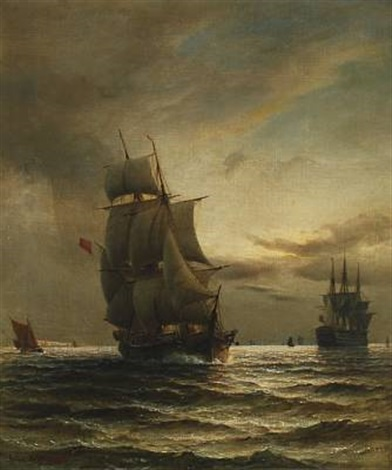 marine with several ships by daniel hermann anton melbye