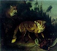 zwei füchse mit erlegtem fasan by peter gnehm