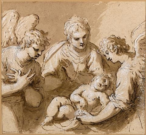 a mother and child with angels by jacopo palma il giovane
