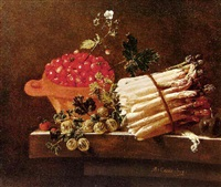 still life with bowl of strawberries, asparagus, currents and gooseberries by adriaen s. coorte