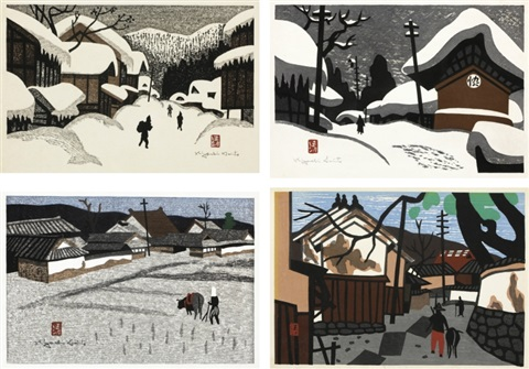 winter in aizu winter in aizu plowing street set of 4 by kiyoshi saito