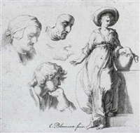 a study of a woman standing against a well and separate   studies of three heads and a hand by cornelis bloemaert the younger
