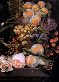 natura morta con pesche, uva, prugne, ciliegie, fiori e farfalla by ottmar elliger the elder