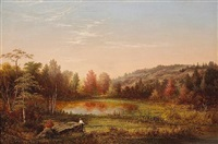 a hunter in an extensive autumn landscape at dawn by fredrick a. butman