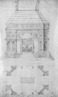 the elevation and ground plan of the tomb of piero de'medici by antonio da sangallo the younger