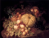 still life with fruit on a stone ledge by augustine vervloet