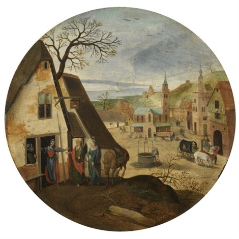 mary and joseph halting at an inn by abel grimmer