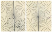 untitled (solid cream butterfly drawing in two parts) by mark grotjahn
