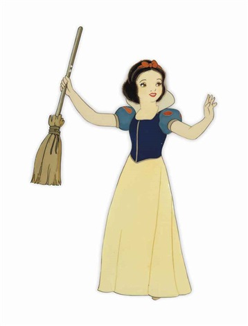 snow white holds a broom by disney studios