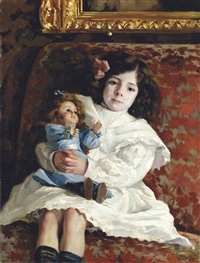 portrait of a young girl (artist's niece?) with her favorite doll by josé marie de la bastida y fernandez
