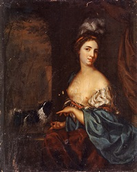 portrait of a young woman with a dog by margaretha wulfraet