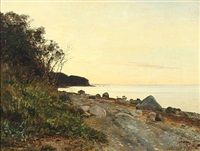 summer's eve at moesgård strand by janus andreas barthotin la cour