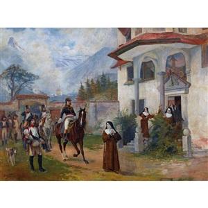soldats devant le couvent by edouard castres
