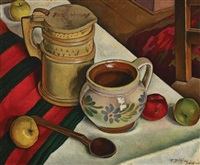 still life with dishes and apples by traian biltiu dancus