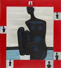black woman on the beach by jerzy nowosielski