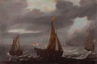 segelboote auf stürmischer see in küstennähe by jacob gerritz loef