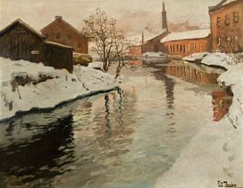 vinter langs akerselven by frits thaulow