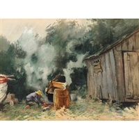 making tar near penetanguishine, ont. by georges chavignaud