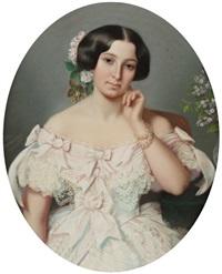 portrait de femme à la robe rose avec des fleurs dans les cheveux by eliza desrivieres