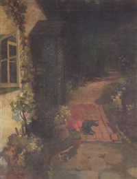cottage garden with black cat by florence carlyle