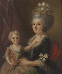 jeune mère avec sa fille (+ le dessinateur entouré de ses fils; pair) by charles lepeintre